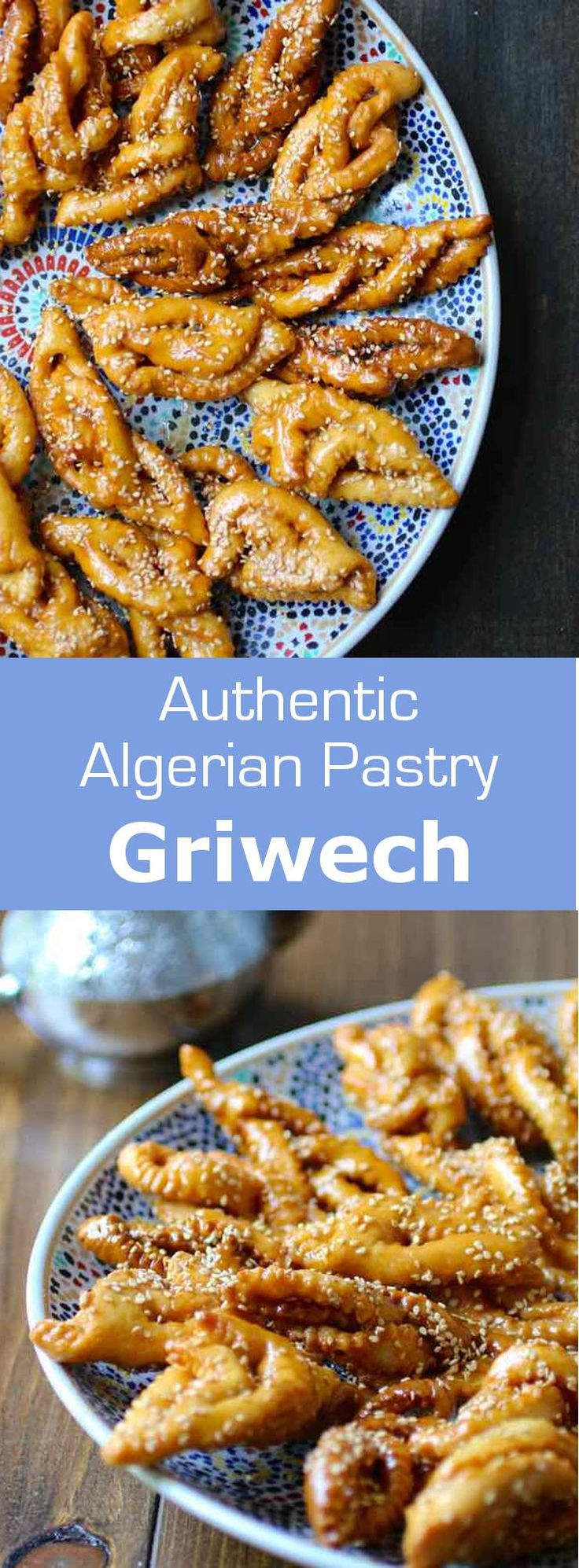 Griouech, also called chebakia is a North African pastry which may be presented in various shapes and is coated with honey and sesame seeds. #algeria #morocco #196flavors