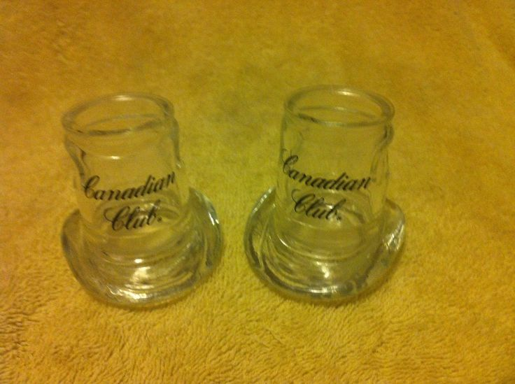 (2) Canadian Club Whiskey Shot Glasses--cowboy Hat--heavy--free Ship--new