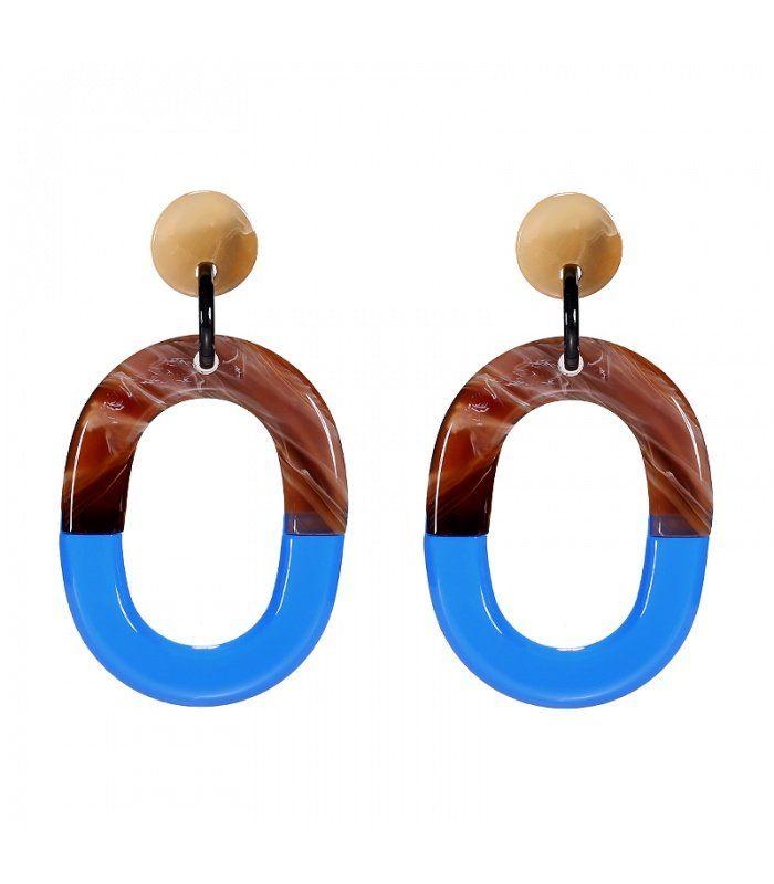 Mooie blauwe trendy oorbellen met ovale hanger|De lengtes van de oorbelle nzijn 8 cm | Yehwang fashion en sieraden