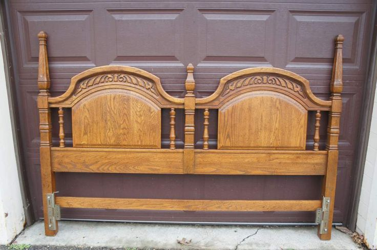 Sumter Cabinet Co 1970s Distressed Oak King Size Headboard Arts + Crafts Carved | The Designers Consignment