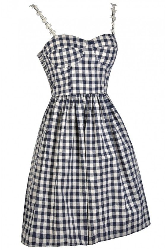 16b97267443a Gingham Style Bustier Pattern A-Line Dress in Navy in 2019 | fashion |  Dresses, Cute summer dresses, Gingham dress