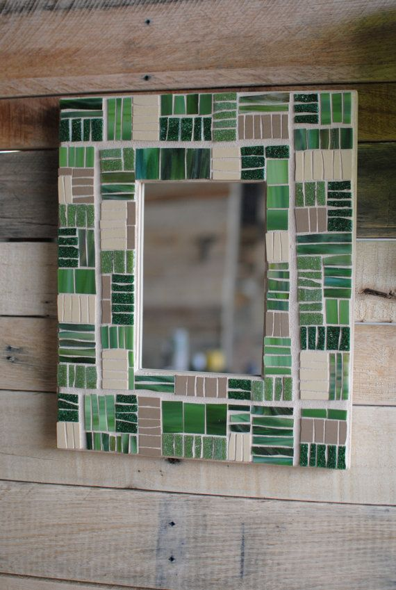"""Mosaic Mirror Frame in Green & Tan. """"Agriculture"""" by Phoenix Handcraft"""