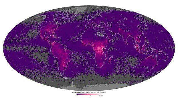 Global Map for the Lightning Strike Worldwide