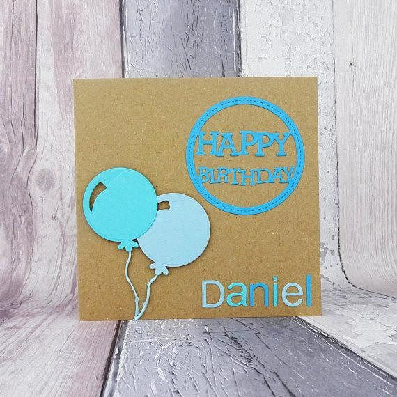 Balloon birthday card with a name Personalised Happy Birthday