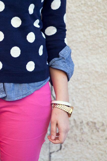 pink & navy polka dots