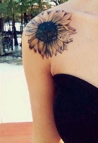 Sexy Shoulder Tattoos for Women - Sunflower Temporary Tattoo - MyBodiArt.com
