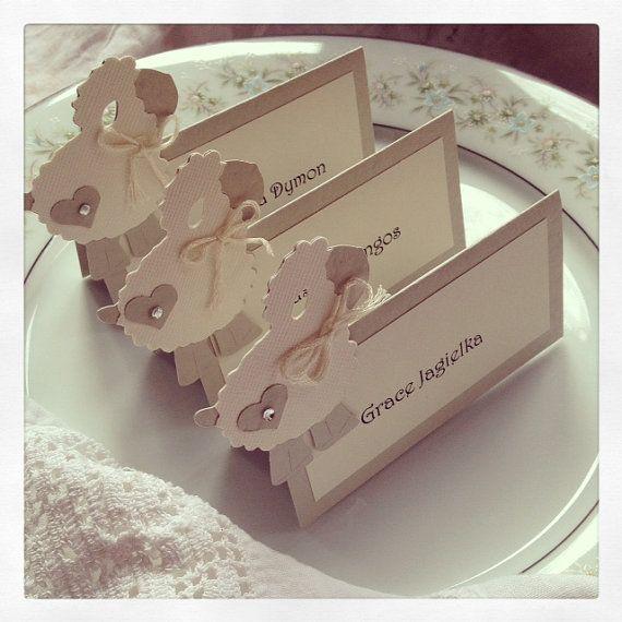 12 Little Lamb PlacecardsGender Neutral by vintagehillcreations, $22.00