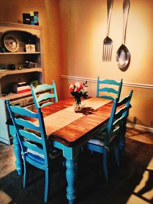 I love the color of this dining room table