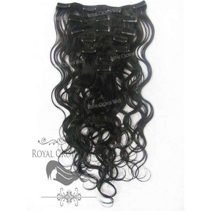 Brazilian 7 Piece Body Wave Human Hair Weft Clip-In Extensions in #1B