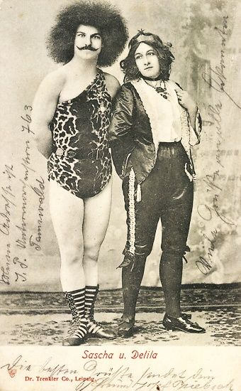 Sascha and Delila - 1905 - Sideshow Performers - Postcard by Dr. Trenkler & Co., Leipzig