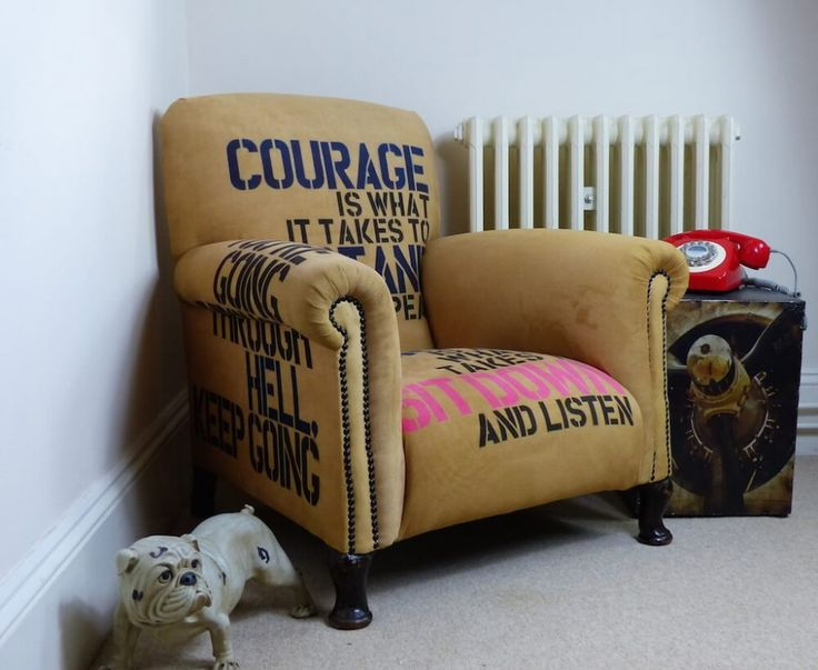 Winston Churchill Chair - Designed by Anthony Devine, this beautiful upcycled armchair with famous Winston Churchill quotes really is a sight to behold. Anthony has done yet another fabulous job on this piece, having printed on to silk moleskin material. Now available to buy from our upcycled furniture store Smithers of stamford