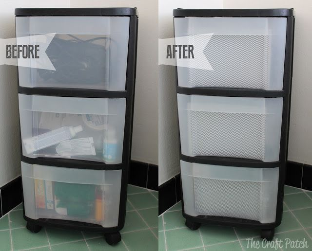 Hide all the stuff in your clear plastic drawers... in less than five minutes! So easy and it looks so much better!