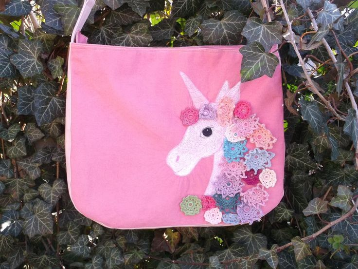 White unicorn with rainbow crocheted flowers hair pink corduroy and faux leather bag or purse freehand embroidered by kiseri on Etsy