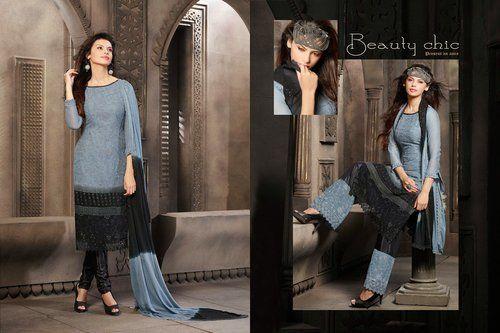 Exotic Deep Ash Gray & Black Salwar Kameez
