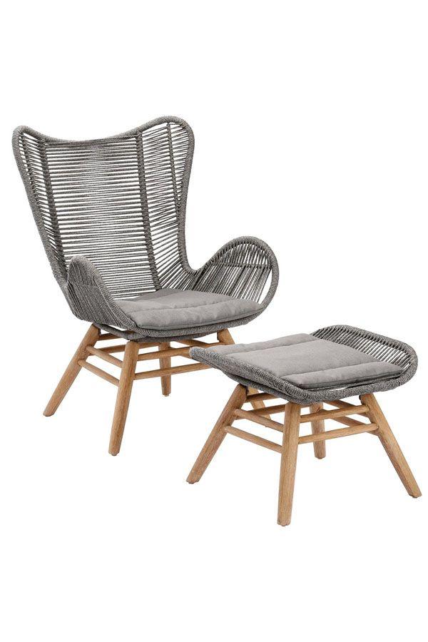 Best Loungesessel Asmara Eukalyptus Polyethylen Mit Hocker In