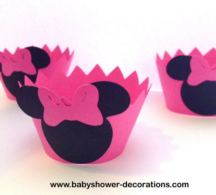 Baby Shower Decorations: 12 Minnie Mouse Cupcake Wrappers - Pink ...