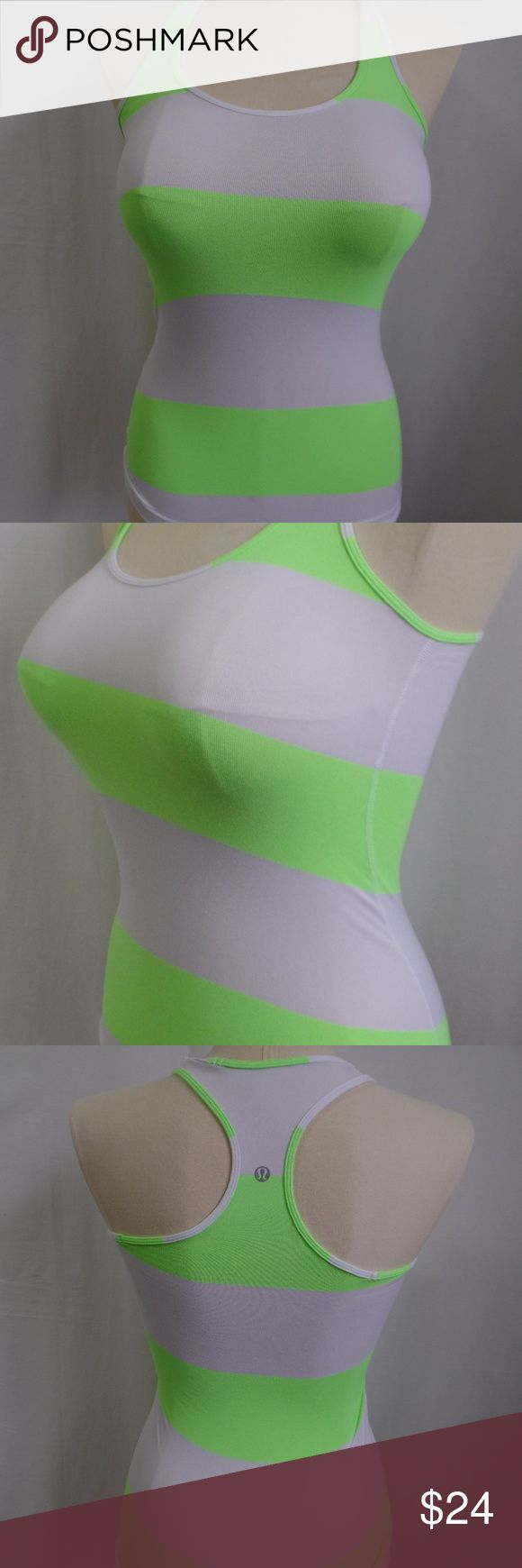 Lululemon Green White Stripe Racerback Tank Top 2 This is a Lululemon Cool Racerback neon green and white stripe tank top.   Size Women's 2  Content content and care tag was removed   Measurements Chest  24  Overall Length 25    Condition Pre-owned; tank top is in very good condition lululemon athletica Tops Tank Tops