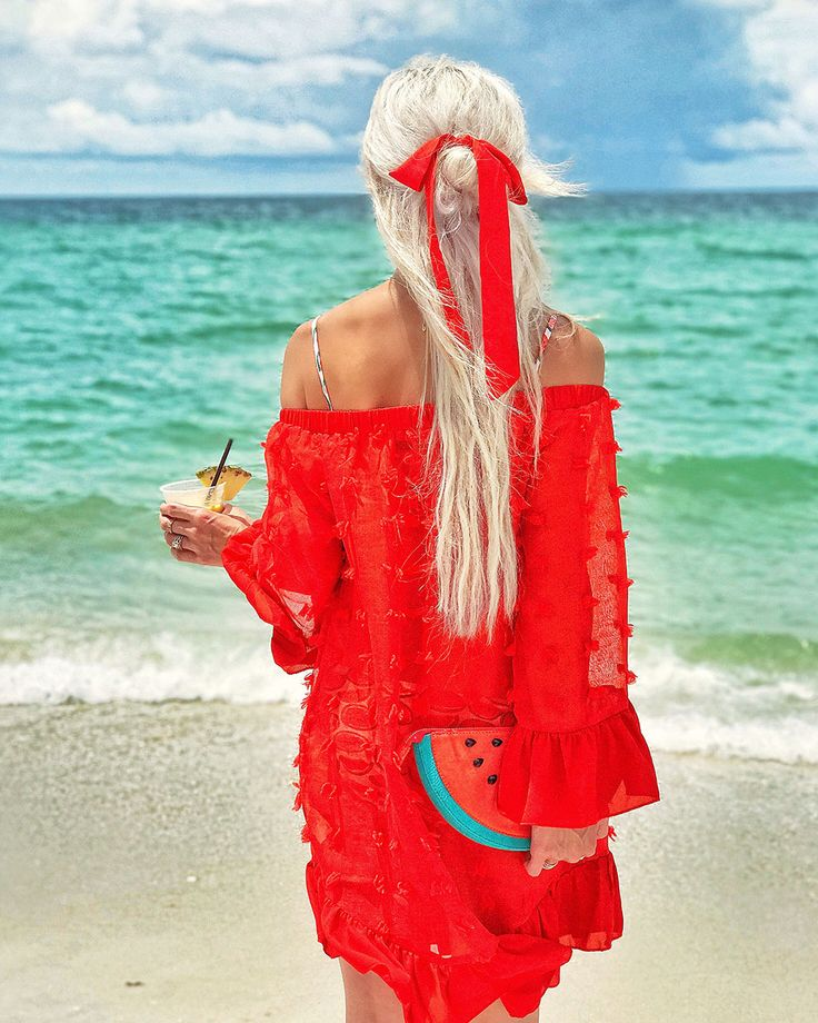 red swimsuit coverup.