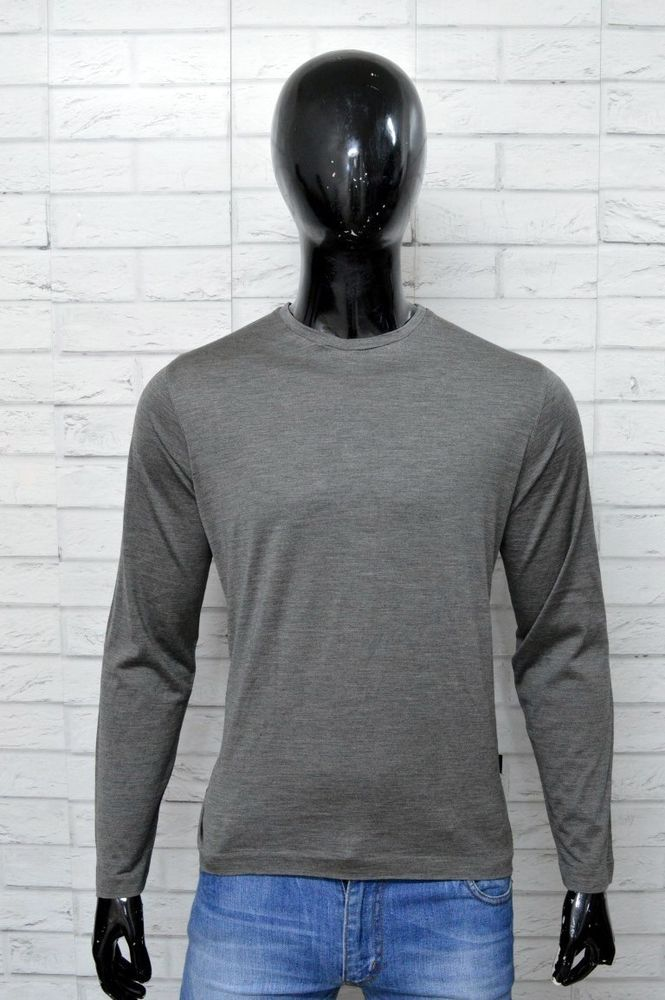 ea9e04d80318 HUGO BOSS Slim Fit Maglia Uomo Taglia M Manica Lunga Shirt Maglietta Seta  Grigia   Cose da comprare   Maglione uomo, Lana blu e Maglie uomo