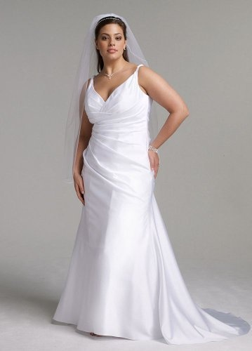 davids bridal wedding dress satin slim gown with twist straps and side drape style 9sas1200