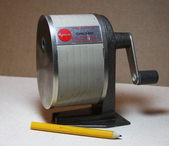 Apsco PENCIL SHARPENER Manual Vintage Office By VintageSupplyCo. Industrial  ...