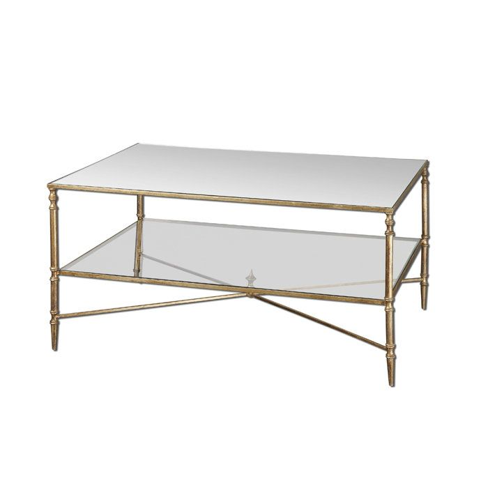 Henzler metal frame glass top coffee table w tempered for 2 shelf glass coffee table