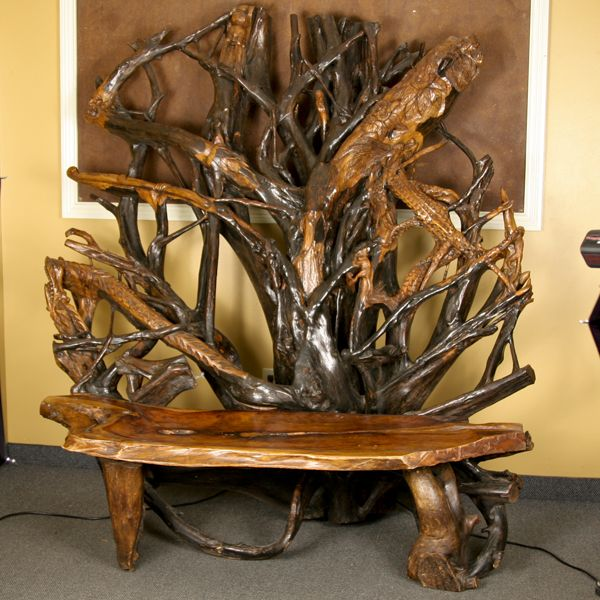 Tree Root Drawings | Breathtaking Folk Art Tree Root Bench With Profuse  Oriental Themed .