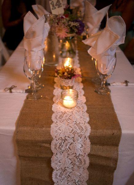 Burlap and lace table runner Coastal Weddings and Events Sunshine Coast Rentals www.coastalweddings.ca