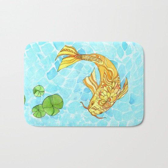 Koi Fish Bath Mat   Koi Pond garden zen teal aqua gold
