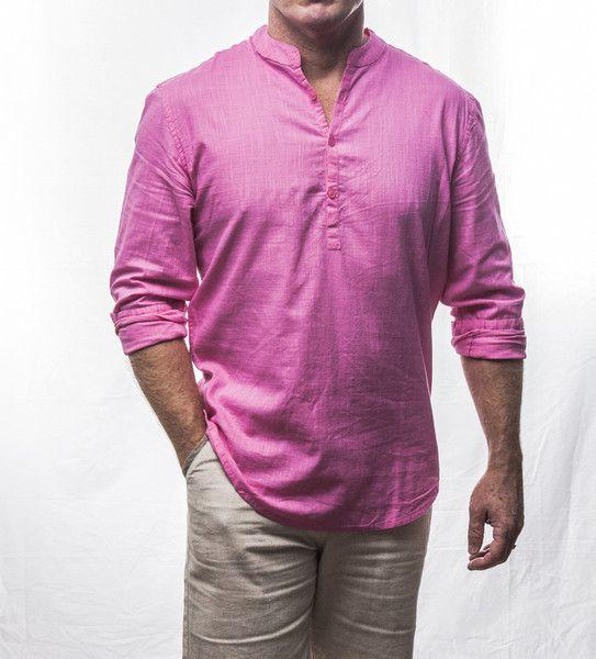 Pink 3 button cotton crew neck shirt $69