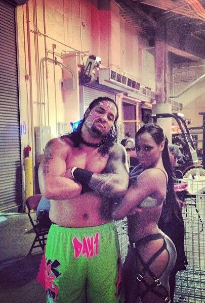 Jimmy Uso (Jon Fatu) & his wife Naomi Knight (Trinity McCray-Fatu) backstage at a WWE live event