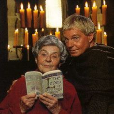 The late great Ellis Peters with Derek Jacobi, who portrayed her awesome sleuth, Brother Cadfael on PBS. He's not my image of Cadfael, but he'll do.