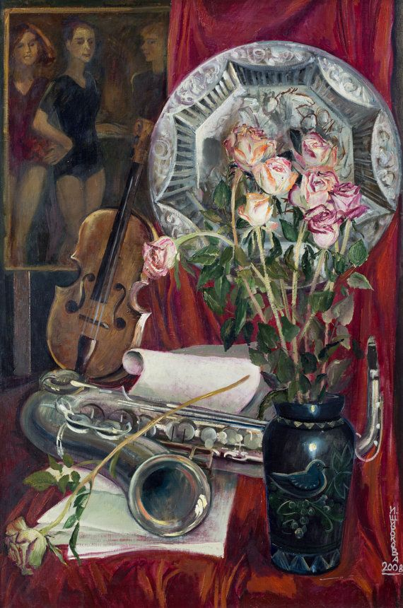 Still Life Wall Art-with violin and от InnaShirokova на Etsy