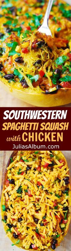Southwestern Chicken Stuffed Spaghetti Squash - perfect Autumn dinner!  (Thanksgiving, holidays recipes)