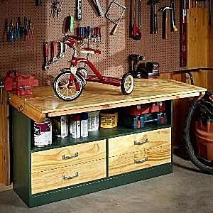 DIY Workbench Plans That Are All Free: Garage Workbench Plan from The Family Handyman