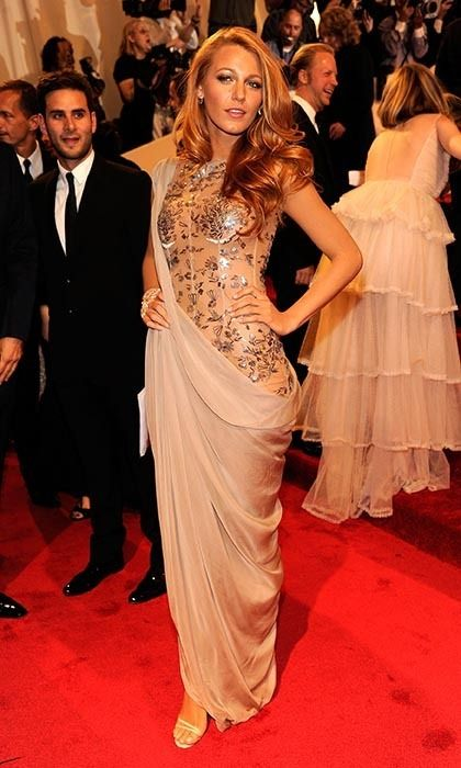 """2011: The following year, Blake Lively turned heads at the """"Alexander McQueen: Savage Beauty"""" gala in a Grecian-style Chanel gown, which was very beautiful indeed – but not exactly """"savage."""" (Photo by Kevin Mazur/WireImage)"""