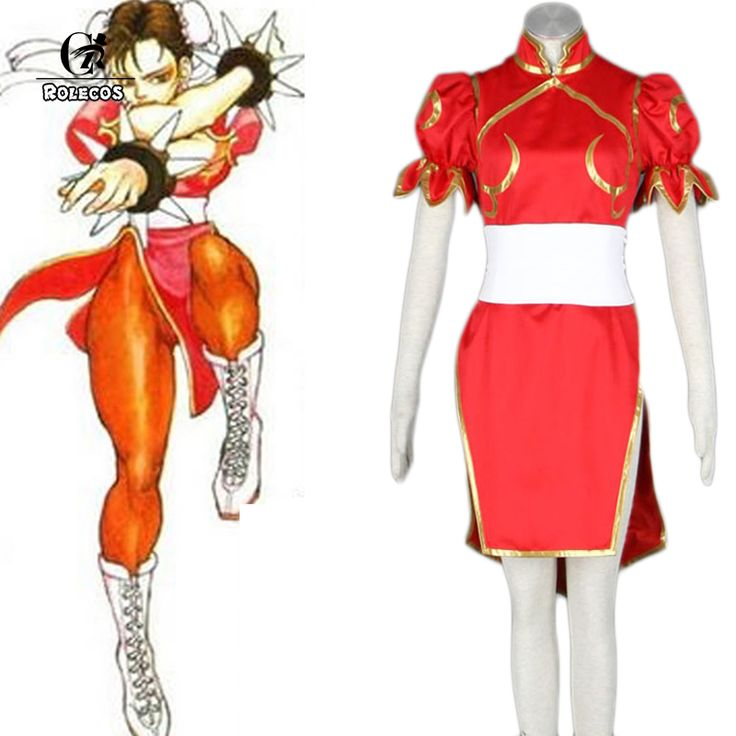 ==> [Free Shipping] Buy Best ROLECOS Brand New Japanese Game Street Fighter Women Cosplay Costumes Color Red Chun-Li Cosplay Dress Women Halloween Costume Online with LOWEST Price | 32699424658