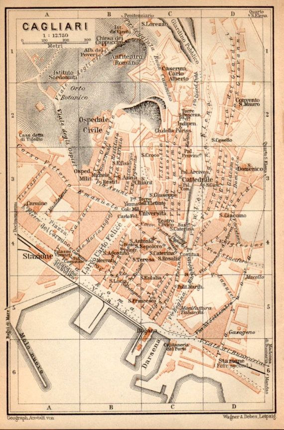 1908 Cagliari Sardinia  Antique Map Sardegna by Craftissimo, €16.95