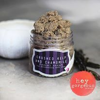 Our Gorgeous Crushed Sea Kelp and Chamomile facial scrub is just heavenly! Crushed sea kelp, abundant in beneficial minerals and vitamins is soaked in a blend of jojoba, grape seed and avocado oil. This is then mixed with soy power and chamomile which adds a deep sense of calmness to your skin and your senses. A touch of orange essential oil is folded in for a rich freshness. Used one or twice a week this fabulous facial scrub will polish off old skin cells and impurities,
