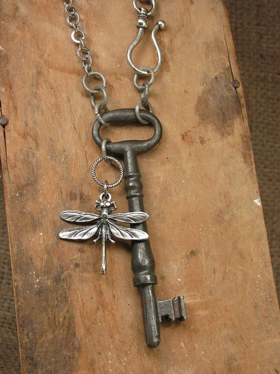 Skeleton Key Jewelry - Large Solid Shanked Steel Skeleton Key Long Length Necklace - Simple, Great for Layering - Always in Style