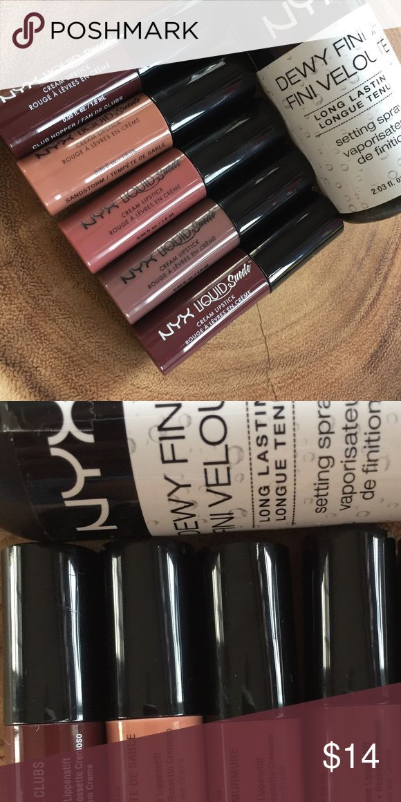 NYX Liquid Suede and Finishing Spray Bundle A collection of 5 Liquid Suede liquid lipsticks in various nude colors - all half sized. A full size NYX pro setting spray in Dewy Finish. New, never used. NYX Makeup Lipstick