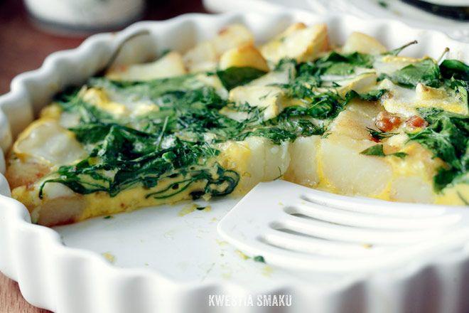 Zapiekany omlet z ziemniakami i szpinakiem