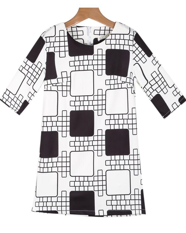 Black White Half Sleeve Geometric Print Dress - Sheinside.com 15