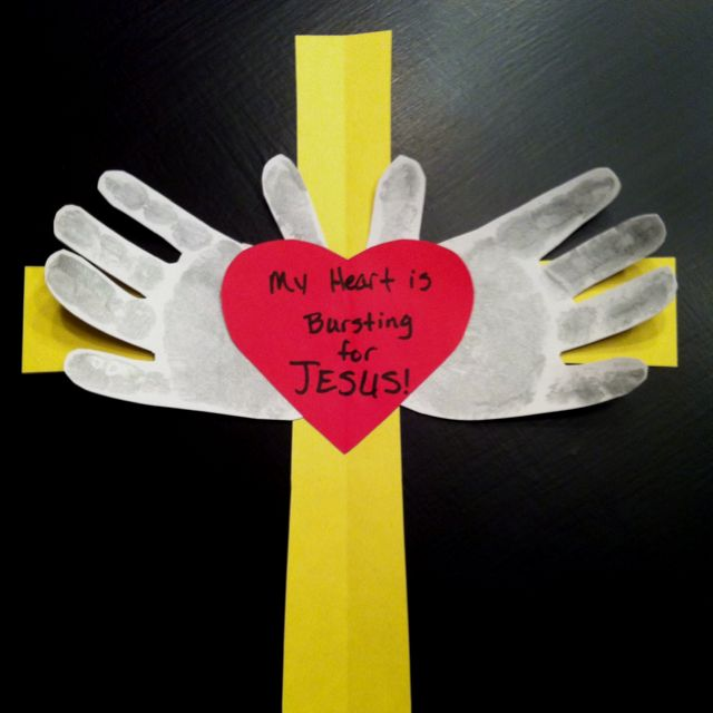 "My sis needed a craft for 2yr old Sunday school class valentines project. This is what I came up with. She already had the ""my heart is bursting for Jesus"" part."