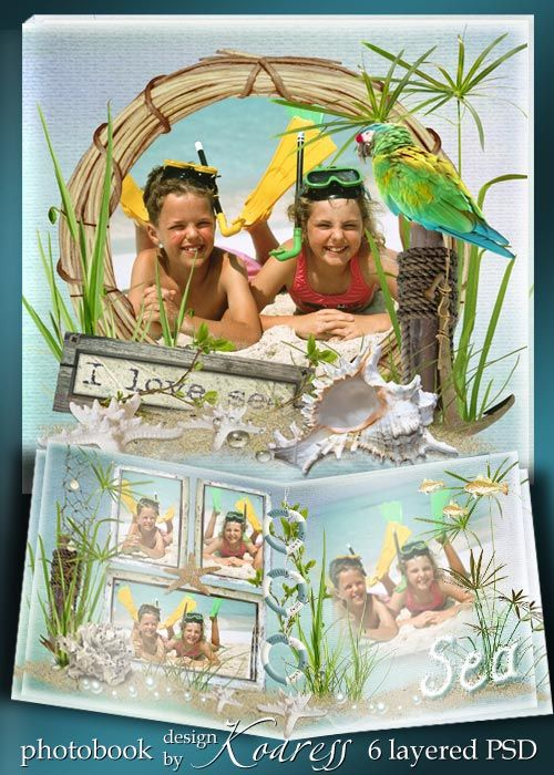 Romantic holidays at sea photobook PSD
