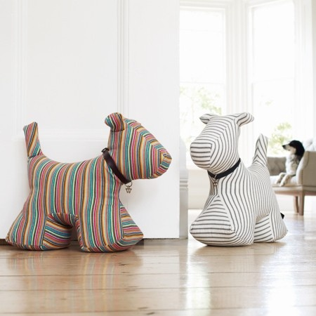 Stripy Doggy Doorstops. Probably simple to make. Would be cool to make one in the shape of a dachshund.
