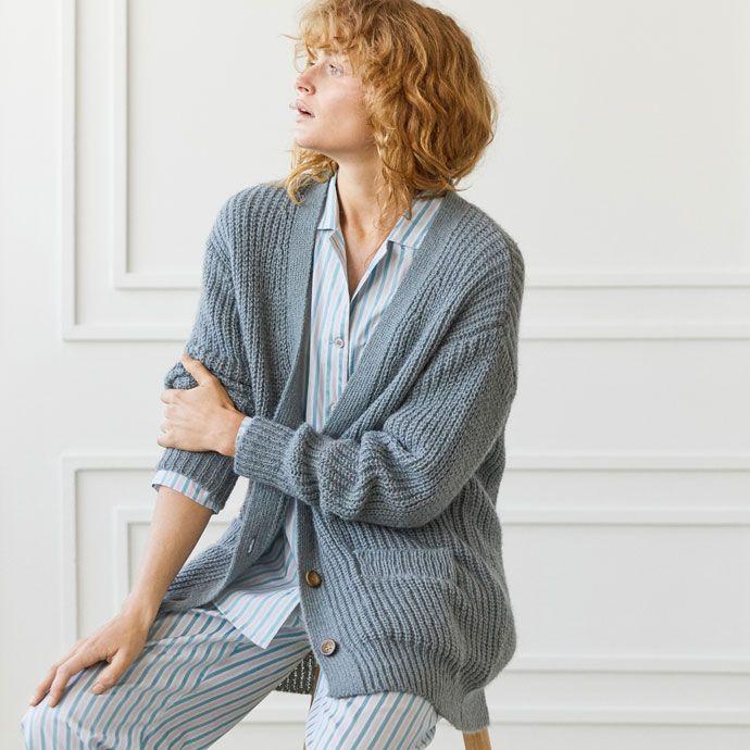 VESTE OVERSIZE MAILLE GRISE -  | Zara Home België / Belgique #Homewear
