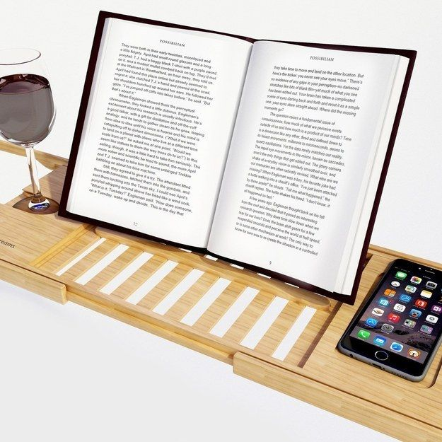 A bathtub tray for reading while having a relaxing soak.