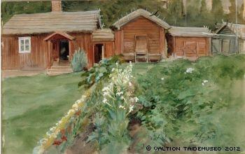 The Old Man Karlsson's cottage in Haikko 1905, Albert Edelfelt - Ukko Karlssonin tupa Haikossa, 1905 - vesiväri, guassi ja lyijykynä pahville - Ateneumin taidemuseo