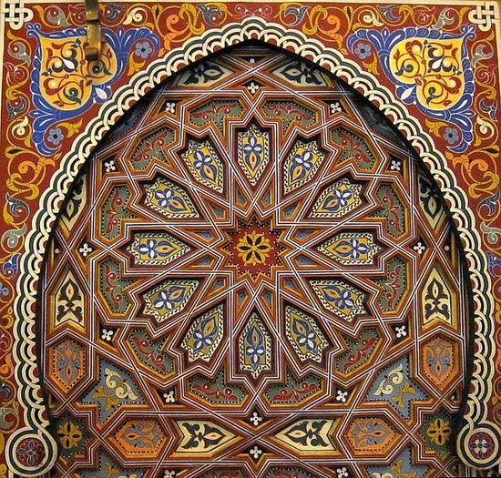 Pure moroccan art hand painted and sculpted wooden door for Door design art